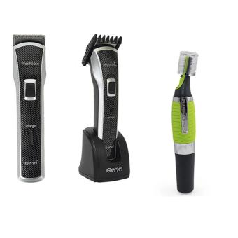 Gemei GM-656 Rechargeable Water Proof Hair Trimmer With Personal Ear Nose Neck Hair Trimmer Clipper With LED Light (Green)