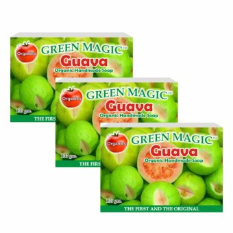 Green Magic GUAVA Herbal Handmade Soap 135g Set of 3