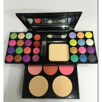 >1 x Make Up Palette Set Eyeshadow Lip Gloss Foundation PowderBlusher Puff Tool