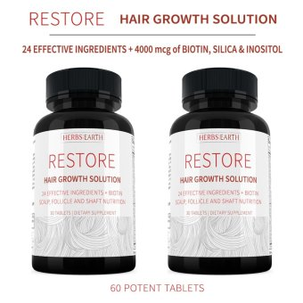 Hair Growth Solution For Longer & Stronger Hair, 23 All Natural Ingredients w Biotin, Silica & Inositol - 2 Bottles Combo
