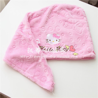 Hello Kitty cute coral velvet long hair absorbent headscarf hair drying towel