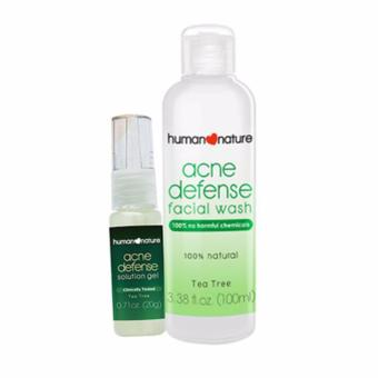 Human Nature Acne Defense Facial Wash 100ml and Acne DefenseSolution Gel 20g Facial Acne Defense Set