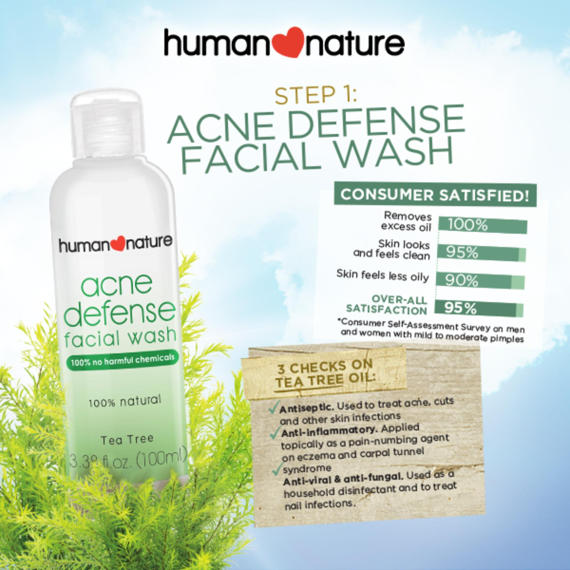 Philippines Human Nature Acne Fighting Duo Defense Facial Wash Ponds Men Solution Gel 20 Gr 100ml And Acnedefense 20g