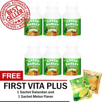 HWIC Health and Wealth Green Barley Bottle of 6 with FREE First Vita Plus Sachets