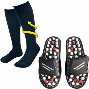 Harga Miracle Socks Anti-Fatigue Compression Socks (Black) With XZY-Acupuncture Foot Reflex Massage Slippers