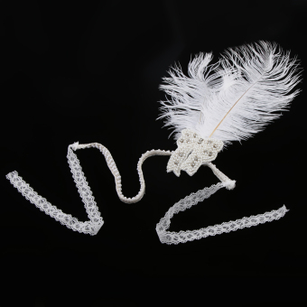 Harga MagiDeal Costume Party Headpiece Feather Pearl Lace Headband