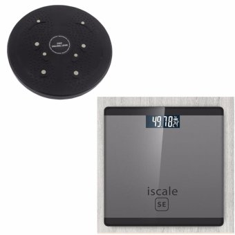 Harga Iscale SE Digital Scale High Accuracy Weight Scale (Black-Gray) With free Waist Twisting Disc Healthy Massager (Black)