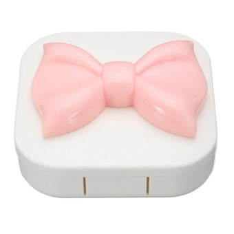 Qiaosha Square Cute Bowknot Travel Contact Lens Case Holder Box w/ Mirror Eye Care Kit Price Philippines