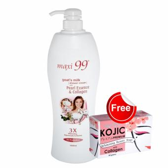 Harga Maxi99 Goat's Milk Shower Cream with Pearl Essence & Collagen 1000ml with FREE Maxi99 Kojic Collagen Soap