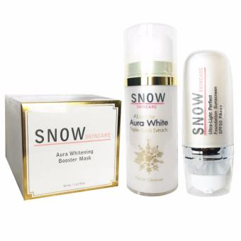 Harga SNOW Skin Care Aura Whitening Booster Mask 30ml, Absolute Aura White Facial Cleanser 80g, DD Cream (Moisturizer, Foundation, Sunscreen) 20ml Set