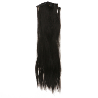Harga MagiDeal 24Inch Long Straight Clip in Hair Extensions Black