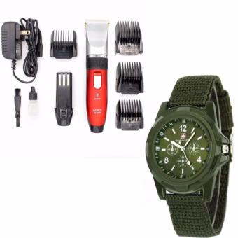 Harga BOXIN Professional Quiet Hair Clippers Cordless Rechargeable Hair Clippers For Barbers (Black/Red) with GEMIUS ARMY Military Sport Style Army Men's Green Canvas Strap Watch
