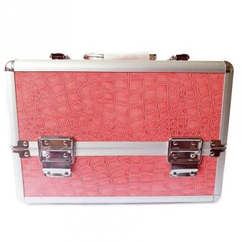 Harga Professional Aluminum Makeup Case (Pink Crocodile Grain)