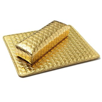 Harga Soft Hand Cushion Pillow And Pad Rest Nail Art Arm Rest Holder Manicure Nail Art Accessories PU Leather Golden - Intl