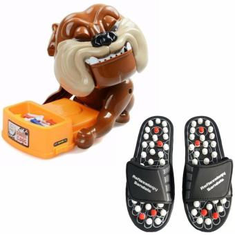 Harga Foot Reflex Massage Slippers 1 Pair Set (Black) with Bad Dog Action Game