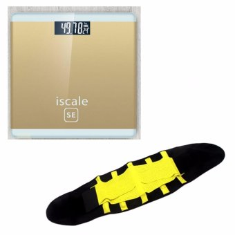 Harga Iscale SE Digital Scale High Accuracy Weight Scale (Gold) With free Hot Shapers Adjustable Waistband Hot Belt Power