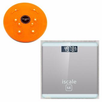 Harga Iscale SE Digital Scale High Accuracy Weight Scale (White-Gray) With free Waist Twisting Disc Healthy Massager (Orange)