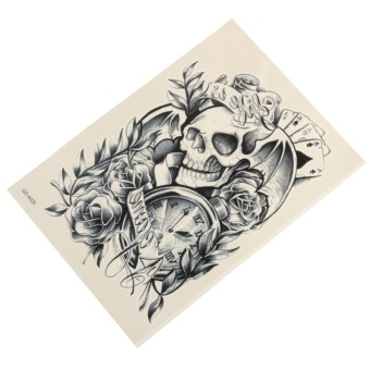 Harga Waterproof Skull Clock Rose Temporary Tattoo Body Arm Leg Art Stickers Removable
