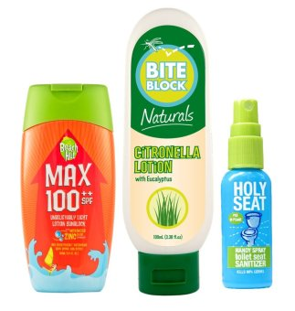 Harga Beach Hut SPF100++100ml with Bite Block Naturals Insect Repellent Citronella Lotion 100ml with Holy Seat Toilet Seat Sanitizer