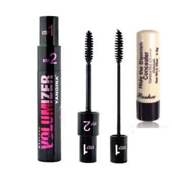 Ashley Volumizer Mascara 2 in 1 Brush (Black) & Ashley Shine Hide the Blemish Stick Concealer with SPF 15 Price Philippines