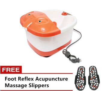 Harga SQ-368 Footbath Massager (Orange/White) with Free Foot Reflex Acupuncture Massage Slippers
