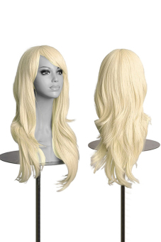 Phoenix B2C Women's Lady Long Synthetic Hair Curly Wavy Wig Anime Cosplay Party Full Wigs (Light Blonde)- Intl Price Philippines