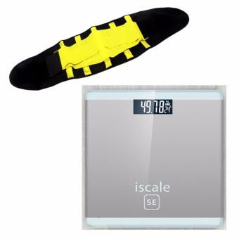 Harga Iscale SE Digital Scale High Accuracy Weight Scale (White-Gray) With free Hot Shapers Adjustable Waistband Hot Belt Power