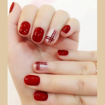 24 Pcs/set Fake Nail Bright Wine Red Double Line False Nails with Glue - intl Price Philippines