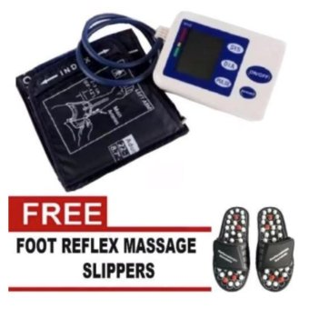 Harga Full Arm Blood Pressure and Heart Beat Monitor With Free Foot Reflex Massage Slippers