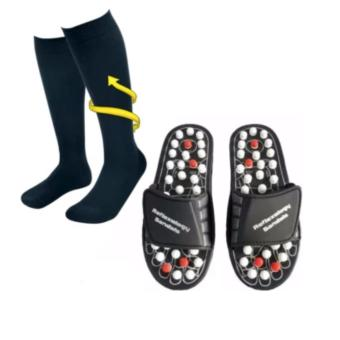 Harga Miracle Socks Anti-Fatigue Compression Socks (Black) With Acupuncture Foot Reflex Massage Slippers