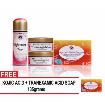 Harga Secrets of Professionals- Rejuvenating Set 3 (Intensive Whitening and Anti-aging) with Kojic acid + Tranexamic Acid Soap