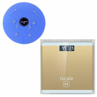 Harga Iscale SE Digital Scale High Accuracy Weight Scale (Gold) With free Waist Twisting Disc Healthy Massager (Blue)