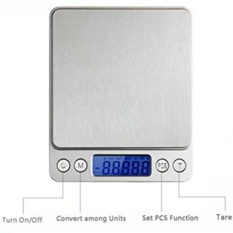 Jabriel 0.01oz/0.1g 3Kg Kitchen Scale,Digital Pro Pocket Scale,Food Scale,Electronic Scale with Back-Lit LCD Display Silver - intl
