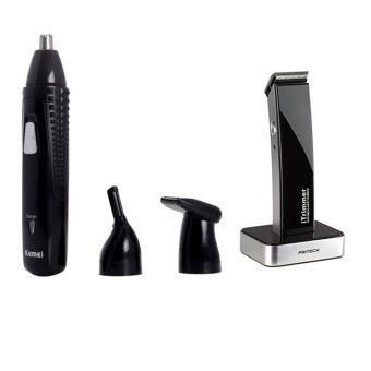 Kemei KM - 309 3 In 1 Rechargeable Electric Nose Hair Trimmer WithPritech iTrimmer 1288 Hair Trimmer (Black)