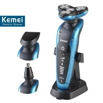 Kemei58892 3 In 1 Washable Rechargeable Men's Electric Shaver &Nose Trimmer 3D Floating Beard Shaving Razor(Blue) - intl