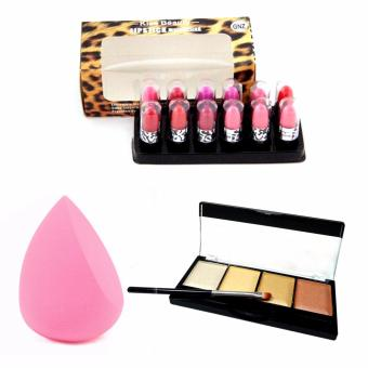 Kiss Beauty 3in1 (Brighten, Contour, Concealer) Highlighter and Contour ,1pc 3D Beauty Puff and Mini Lipstick 12pcs