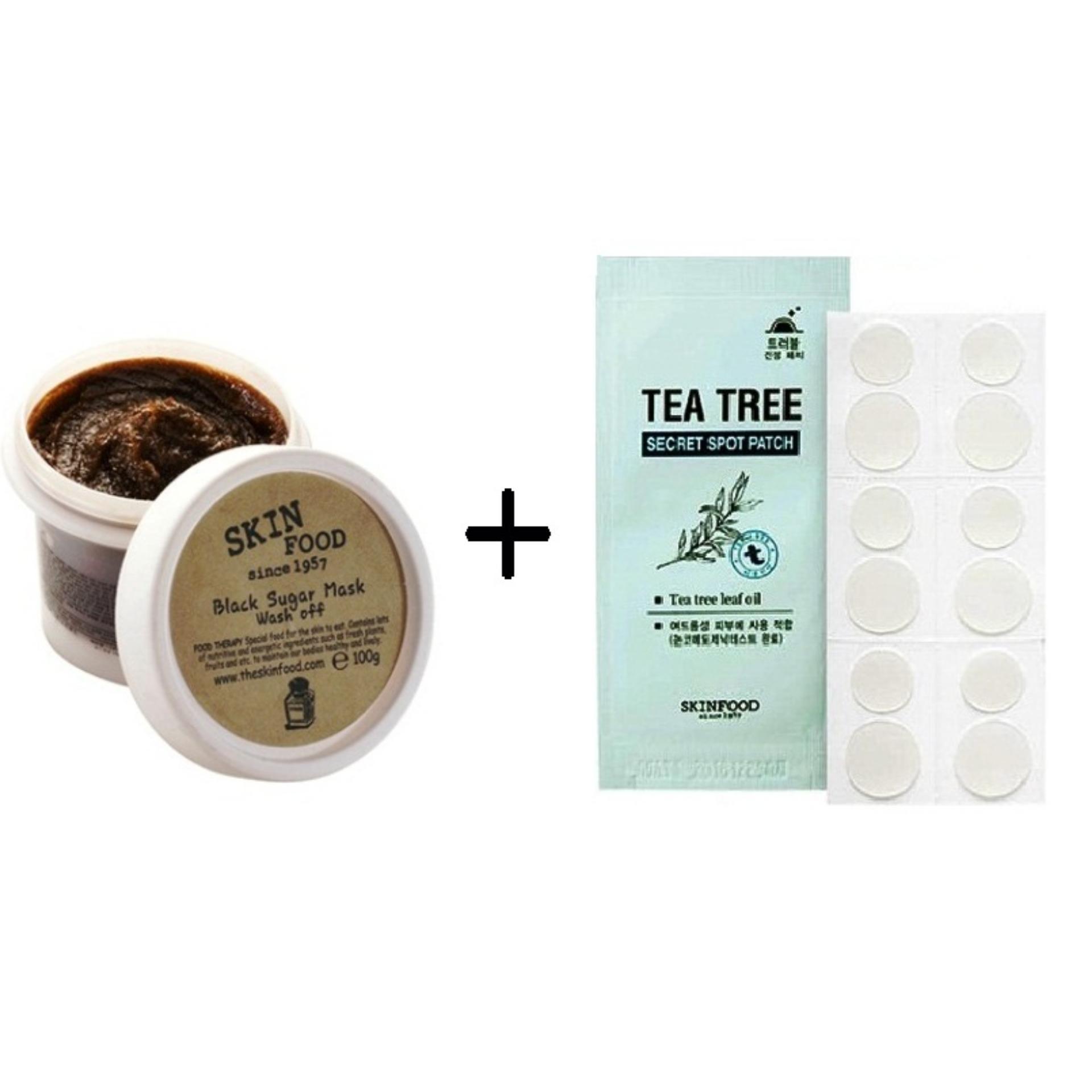 Philippines Korean Cosmetics Skinfood Black Sugar Mask Wash Off Skin Food Honey 100gr Tea Tree Spotpatch