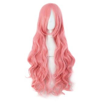 La Vie Long Curly Big Wave Women's Wigs (Pink)