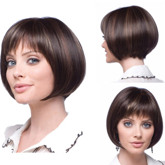 La Vie Sexy Bob Fluffy Neat Bangs Short Natural Full Women's Cosplay Wigs(Brown)