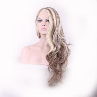 La Vie Sexy Heat Natural Long Wavy Curly Synthetic Fiber Front Women Wigs(Beige) - 2