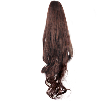 Ladies Clip Claw Curly Wave Hair Extensions Long Wigs PonytailHairpieces 55cm Dark Brown