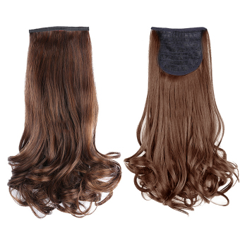 Ladies Clip in Curly Wave Hair Extensions Wigs Ponytail Hairpieces 48cm Brown