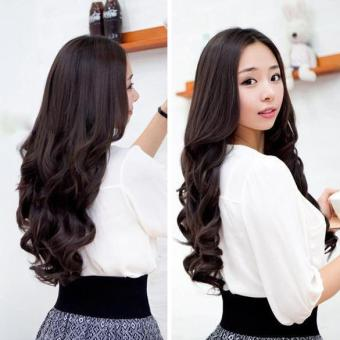 Lady Long Curl Wavy Clip-on Hair Extension Wig Long 55cm Width 25cm - intl
