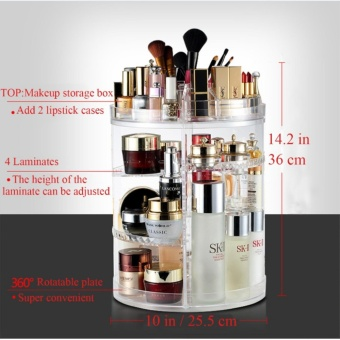 Large Capacity Acrylic Makeup Organizer - 360? Rotating /RevolvingAdjustable Cosmetic Storage and Makeup Palette Organizer (1,Revolving Organizer) - intl