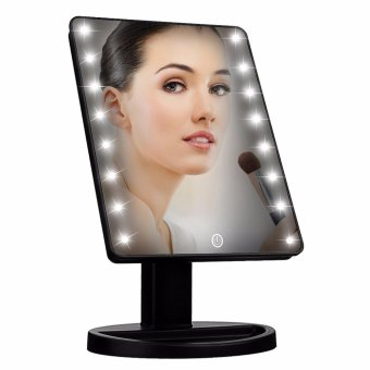 Led Touch Screen Makeup Mirror Professional Vanity Mirror With 16Led Lights Health Beauty Adjustable Countertop 180 Rotating (Black)