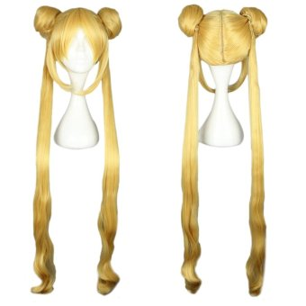 Long Yellow Women Wigs With 2 Double Bun Hair Cosplay CosplayPonytails For Sailor Moon Tsukino Usagi Figure(Color:YELLOW) - intl - 2