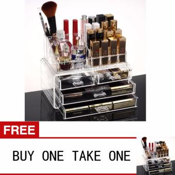 LOVE&HOME Acrylic Makeup Cosmetics Organizer 4 Drawers with Top Section Buy One Take One