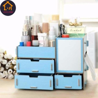 LOVE&HOME Wooden Cosmetic Make Up Jewelry Box Storage Organizer with Mirror and 3 Drawers (Blue)