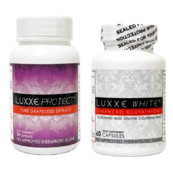 Luxxe White Glutathione Capsule Bottle of 60 with Luxxe ProtectGrapeseed Extract Capsule Bottle of 30s