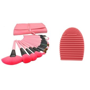 Make-Up For You 24pcs Brush (Pink) with Egg Cleaner Brush (Pink)Bundle